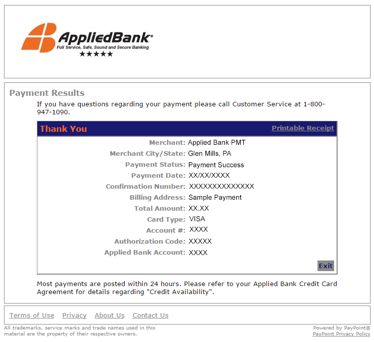 Online Payments Applied Bank